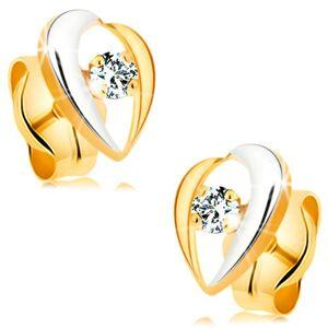 Náušnice zo 14K zlata - zahnuté línie lemujúce číry diamant, dvojfarebné