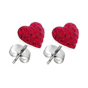 Náušnice zo striebra 925 - červené zirkónové srdce, puzety