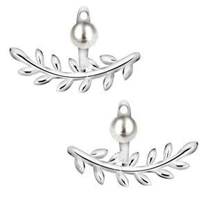 Náušnice zo striebra 925 - lesklá vetvička s listami, okrúhla perla bielej farby