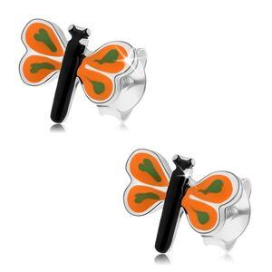 Náušnice zo striebra 925, malý motýlik s farebnou glazúrou, oranžové krídla