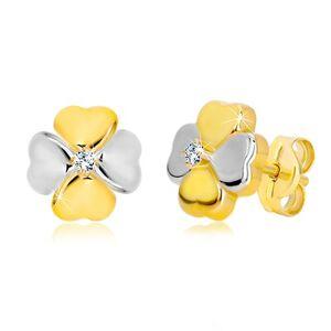 Náušnice zo zlata 585 - dvojfarebný štvorlístok pre šťastie so zirkónom