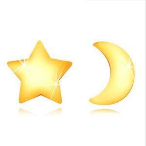 Náušnice zo zlata 585 - kontúra lesklého mesiačika a súmernej hviezdičky, puzetky
