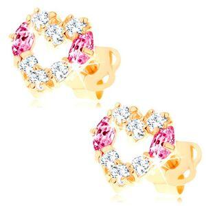 Náušnice zo žltého 14K zlata - kontúra srdca zdobená čírymi a ružovými zirkónmi