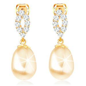 Náušnice zo žltého 14K zlata - trblietavý obrys zrnka, oválna perla
