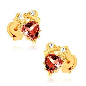 Náušnice zo žltého 9K zlata - červené srdce z granátu, mašlička, číre zirkóniky