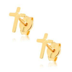 Náušnice zo žltého 9K zlata - lesklý latinský krížik