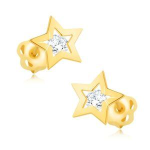 Náušnice zo žltého 9K zlata - lesklý obrys hviezdičky, číry zirkón