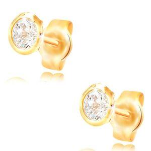 Náušnice zo žltého zlata 585 - okrúhly číry zirkón v objímke, 5 mm