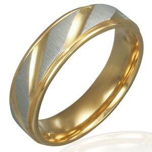 Obrúčka z ocele - zlato-strieborná farba, diagonálne ryhovanie - Veľkosť: 62 mm