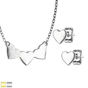 Oceľová 316L dvojdielna sada - náušnice a náhrdelník so vzorom srdca, lesklý povrch - Farba: Strieborná