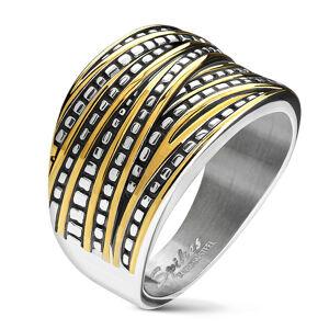 Oceľová obrúčka striebornej farby - asymetrické pásy v strieborno-zlatom odtieni, zúžujuca sa  - Veľkosť: 69 mm