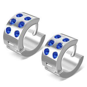 Oceľové náušnice - kruhy s lesklým povrchom, šesť modrých zirkónov, 13 mm