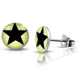 Oceľové náušnice - svetložlté krúžky s čiernou hviezdičkou, puzetky