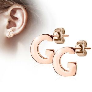 """Oceľové náušnice v medenej farbe - písmeno abecedy """"G"""", puzetky"""
