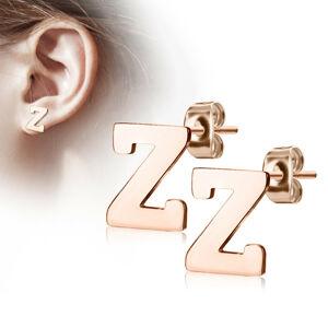 """Oceľové náušnice v medenej farbe - písmeno abecedy """"Z"""", puzetky"""