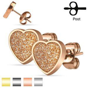 Oceľové puzetové náušnice, trblietavé srdiečko s pieskovaným povrchom - Farba: Medená