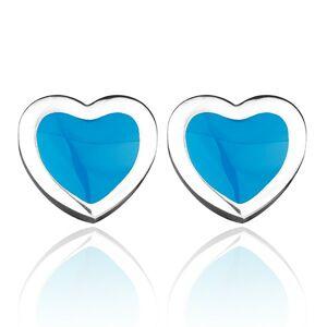 Oceľové puzetové srdiečka - modrá výplň