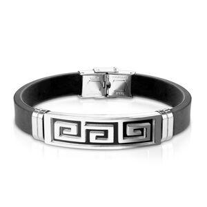 Oceľovo-gumený náramok, známka s gréckym kľúčom čiernej farby