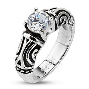 Oceľový dekoratívny patinovaný prsteň so zirkónom - Veľkosť: 60 mm