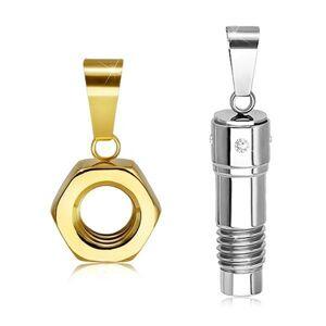Oceľový dvojprívesok v striebornom a zlatom odtieni, skrutka a matica, zirkóny