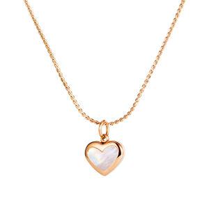 Oceľový náhrdelník, medená farba - jemná retiazka, prívesok srdce s dúhovými odleskami