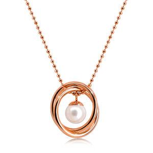 Oceľový náhrdelník v medenej farbe - guličková retiazka, dva skrížené kruhy, perleťová gulička