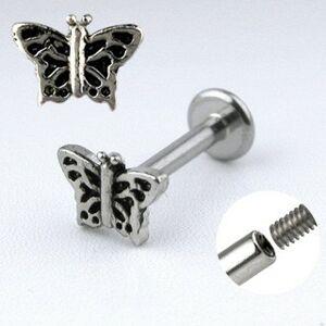 Oceľový piercing do brady - motýlik s krídlami so zárezmi