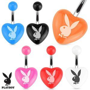 Oceľový piercing do brucha, farebné akrylové srdce, zajac Playboy - Farba piercing: Ružová