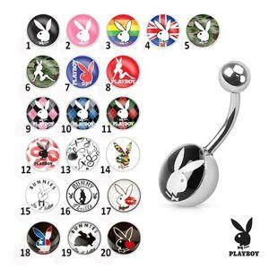 Oceľový piercing do bruška, farebné obrázky zajačikov Playboy - Symbol: PB16