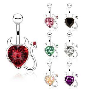 Oceľový piercing do bruška, zirkónové srdce s chvostíkom a rohmi - Farba zirkónu: Čierna - K
