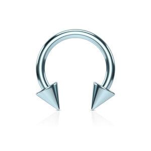 Oceľový piercing do nosa s titánovou úpravou - podkova s hrotmi vo svetlomodrom prevedení - Rozmer: 1,6 mm x 10 mm x 4x4 mm