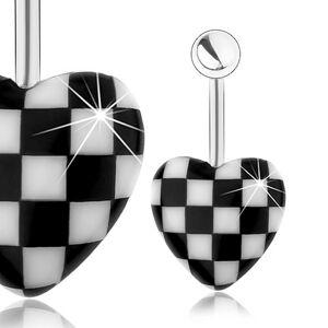 Oceľový piercing do pupka, vypuklé akrylové srdce, vzor šachovnice
