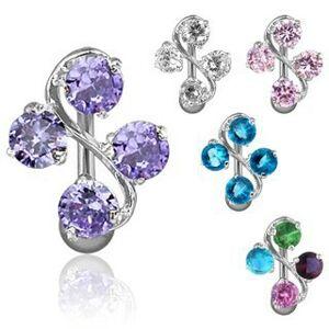 Oceľový piercing do pupku - esíčko a štyri farebné zirkóny - Farba zirkónu: Aqua modrá - Q