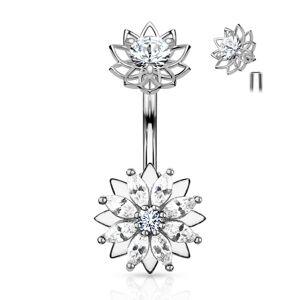 Oceľový piercing do pupku, kvety, číre zirkóny, strieborná farba, ródiovaný