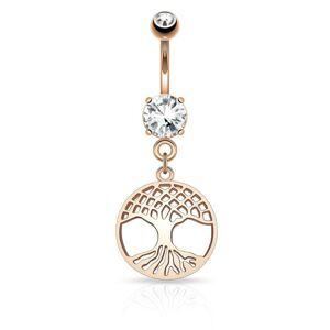 Oceľový piercing do pupku medenej farby, vyrezávaný strom života v kruhu