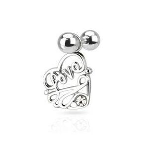 """Oceľový piercing do ucha - nápis """"Love"""" v srdci s čírym zirkónom"""