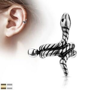 Oceľový piercing do ucha - stočený had s pásikmi na tele - Farba piercing: Strieborná