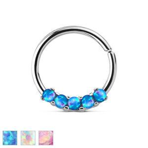 Oceľový piercing striebornej farby, lesklý krúžok so syntetickými opálmi - Farba piercing: Dúhová