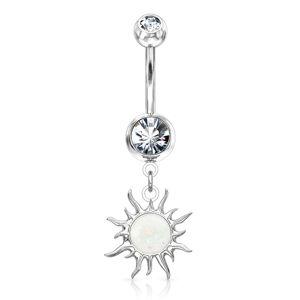 Oceľový piercing v striebornom odtieni do bruška - ligotavý zirkón, slniečko - Farba zirkónu: Ružová - P