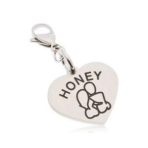 Oceľový prívesok na kľúčenku, srdce s nápisom HONEY, zamilovaná dvojica