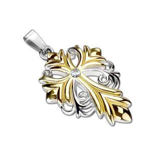 Oceľový prívesok v tvare ľaliového kríža zlatostriebornej farby - brúsený číry zirkón v strede