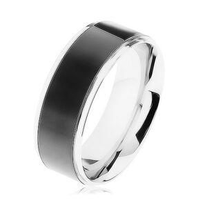Oceľový prsteň, čierny pruh, lemy striebornej farby, vysoký lesk - Veľkosť: 68 mm