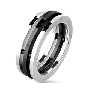 Oceľový prsteň - dvojfarebné oddelené obruče - Veľkosť: 61 mm