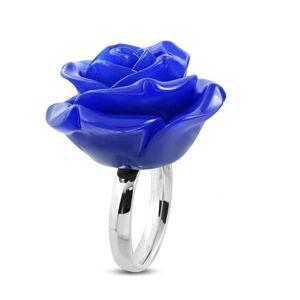 Oceľový prsteň - lesklá obrúčka a živicová ruža v tmavomodrom odtieni - Veľkosť: 51 mm