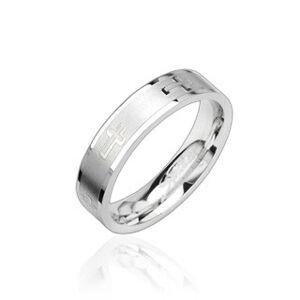 Oceľový prsteň lesklý, krížiky - Veľkosť: 59 mm