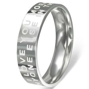 Oceľový prsteň - lesklý povrch so zamilovaným nápisom - Veľkosť: 52 mm