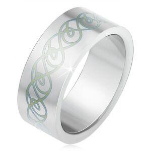 Oceľový prsteň, matný rovný povrch, ornament zo zatočených línií - Veľkosť: 64 mm