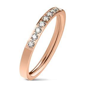 Oceľový prsteň medenej farby, línia čírych zirkónov, lesklý povrch, 2,5 mm - Veľkosť: 52 mm