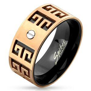 Oceľový prsteň - medeno-čierna kombinácia, vyryté symboly, malá skrutka, 9 mm - Veľkosť: 60 mm