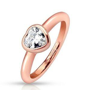 Oceľový prsteň, medený odtieň, zaoblené ramená, číre zirkónové srdce - Veľkosť: 51 mm